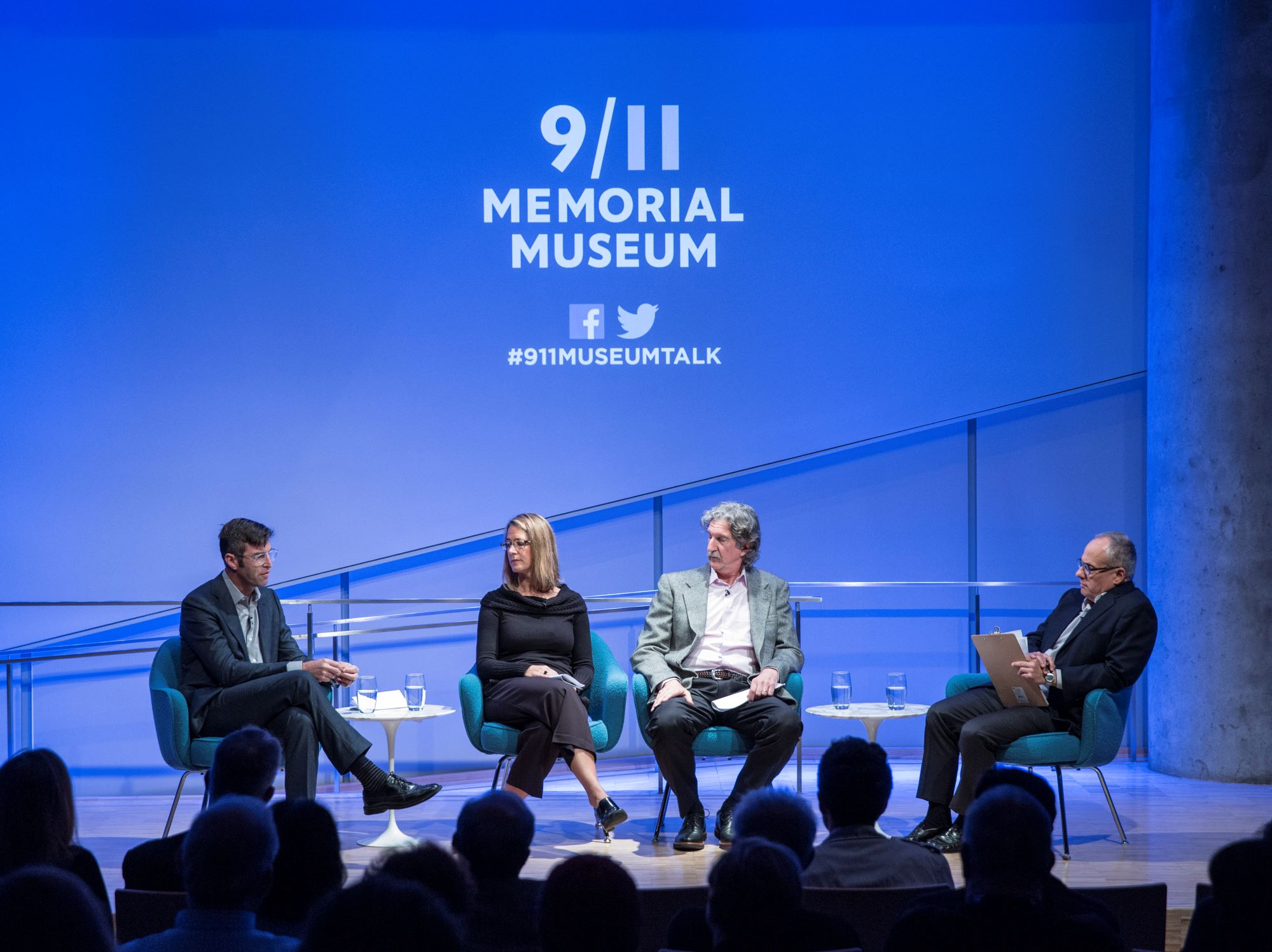 The principal architects of the 9/11 Memorial, the Flight 93 National Memorial near Shanksville, Pa. and the Pentagon Memorial in Arlington, Va., sit on the stage of the 9/11 Memorial Museum auditorium, reflecting on the relationship between architecture and remembrance.