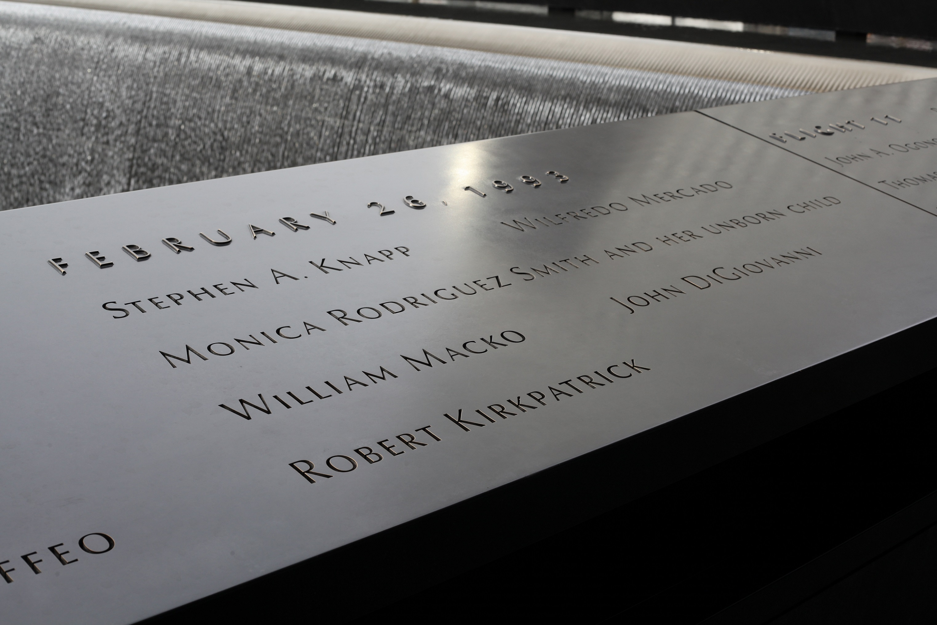 A section of the Memorial's bronze parapets lists the names of the six people killed in the February 26, 1993 attack on the World Trade Center.