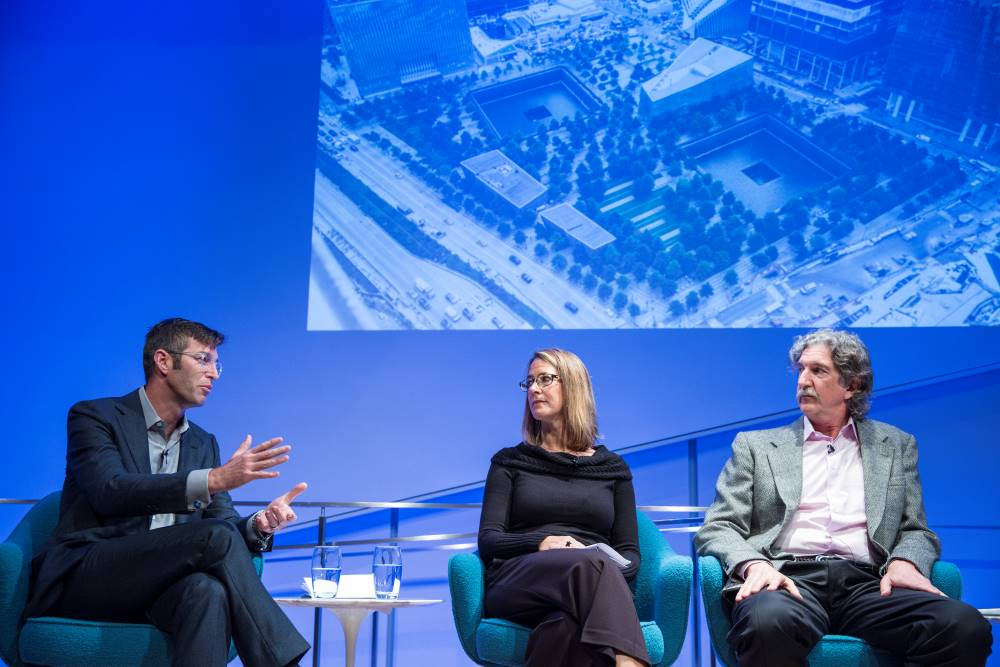 Handel Architects LLP partner Michael Arad, Paul Murdoch Architects President Paul Murdoch, and KBAS partner Julie Beckman are onstage as they take part in the public program, The Architecture of Remembrance.
