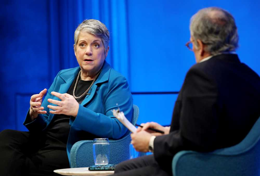 Former Secretary of the Department of Homeland Security Janet Napolitano gestures onstage as she takes part in the public program, How Safe Are We? Homeland Security Since 9/11.