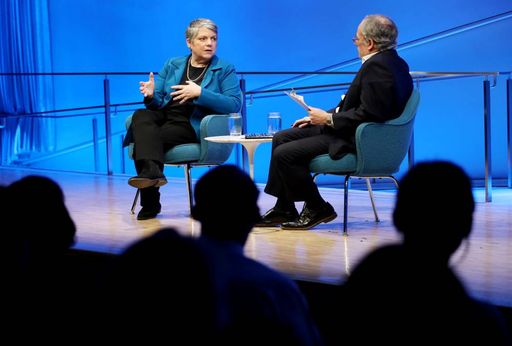 Former Secretary of the Department of Homeland Security Janet Napolitano speaks onstage as part of the public program, How Safe Are We? Homeland Security Since 9/11.
