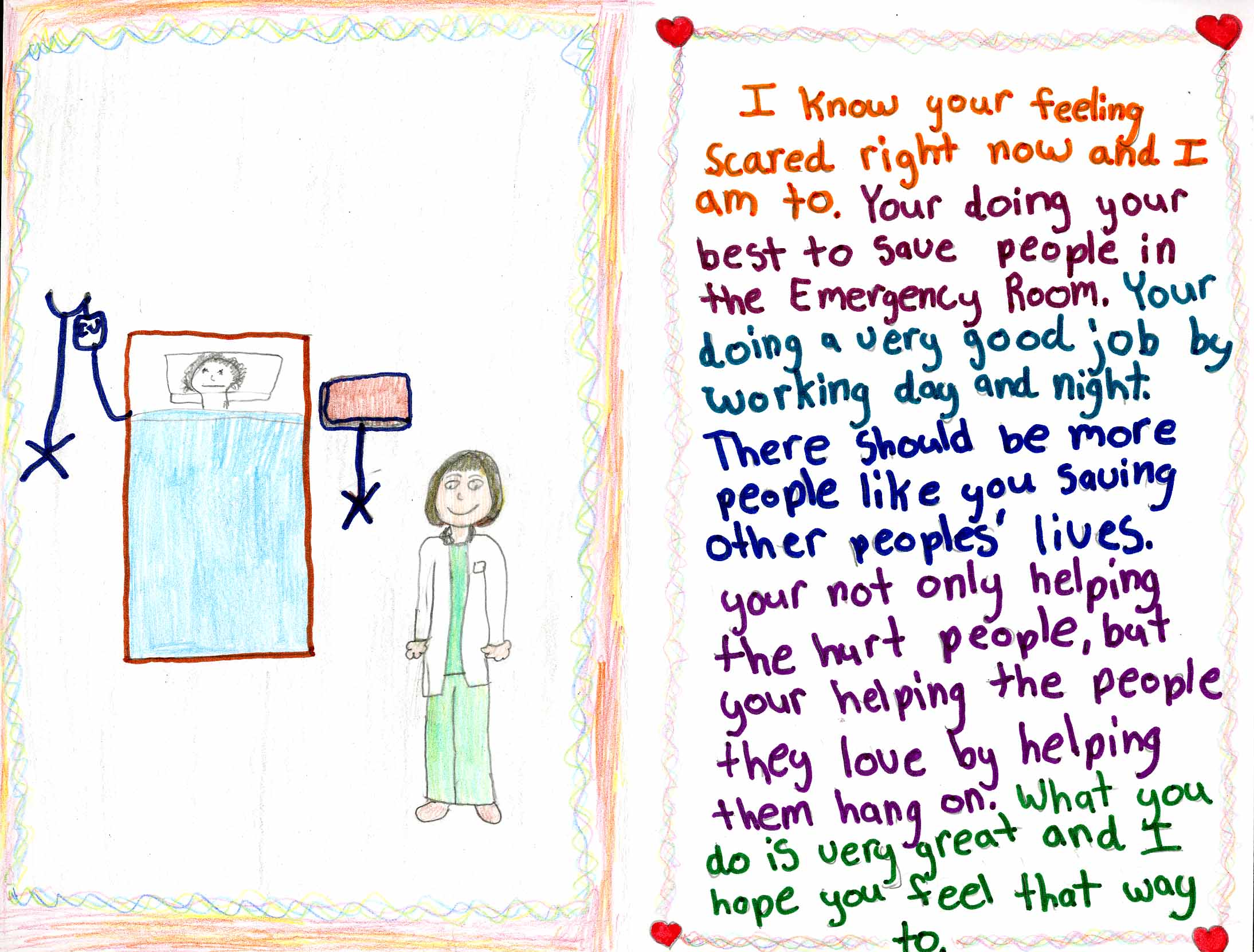 Children's card with handwritten message of hope and gratitude for doctors, with a drawing of a standing doctor next to a patient in bed.