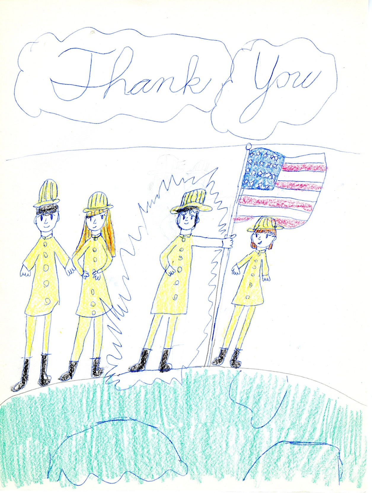 "Children's drawing of four first responders in yellow uniforms standing in a row alongside an American flag planted into the ground. Above the drawing, the words ""Thank You"" are written in cursive lettering."