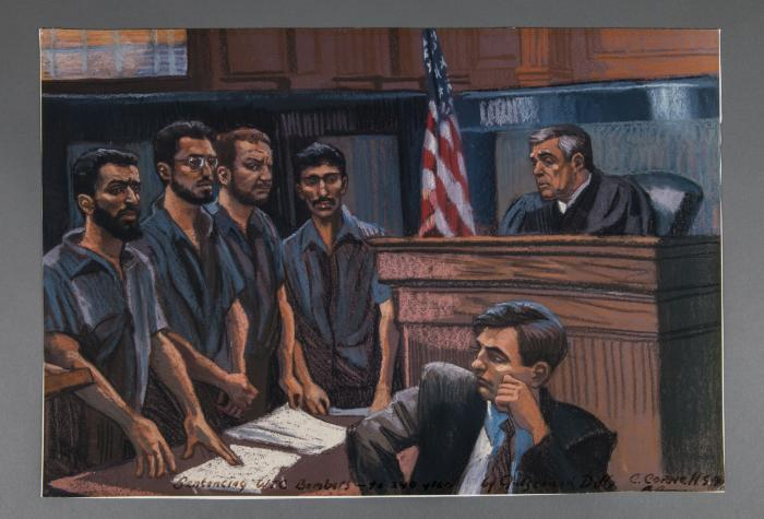 A courtroom sketch depicts the sentencing of four men who played a role in the 1993 bombing of the World Trade Center. The men stand beside each other as they face a judge seated at a bench. A man wearing a suit and tie in the foreground sits and watches the defendants.
