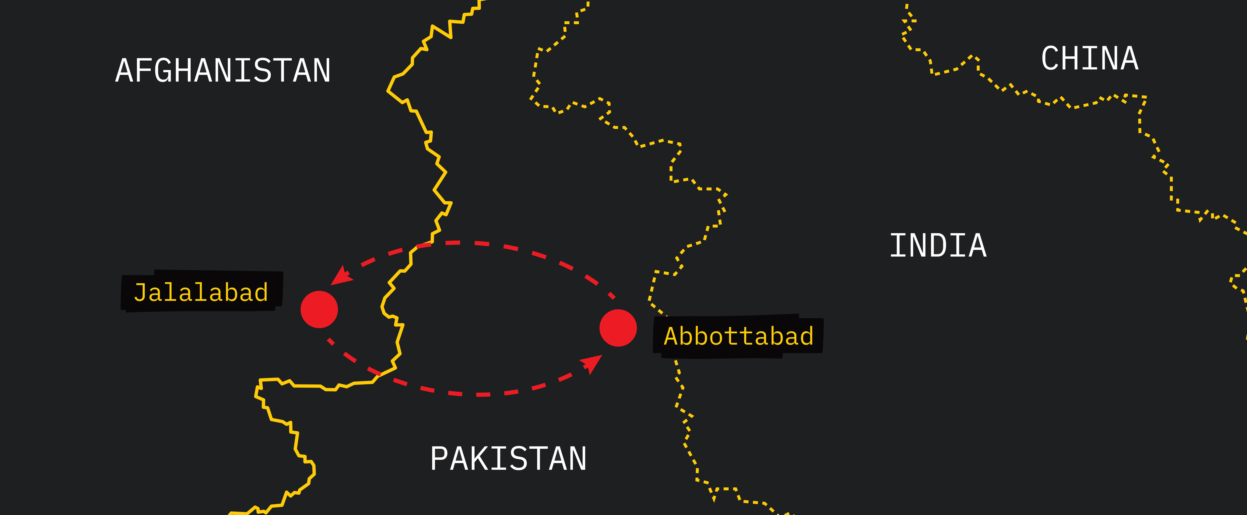 Graphic map showing dotted connection between Jalalabad in Afghanistan and Abbottabad in Pakistan.
