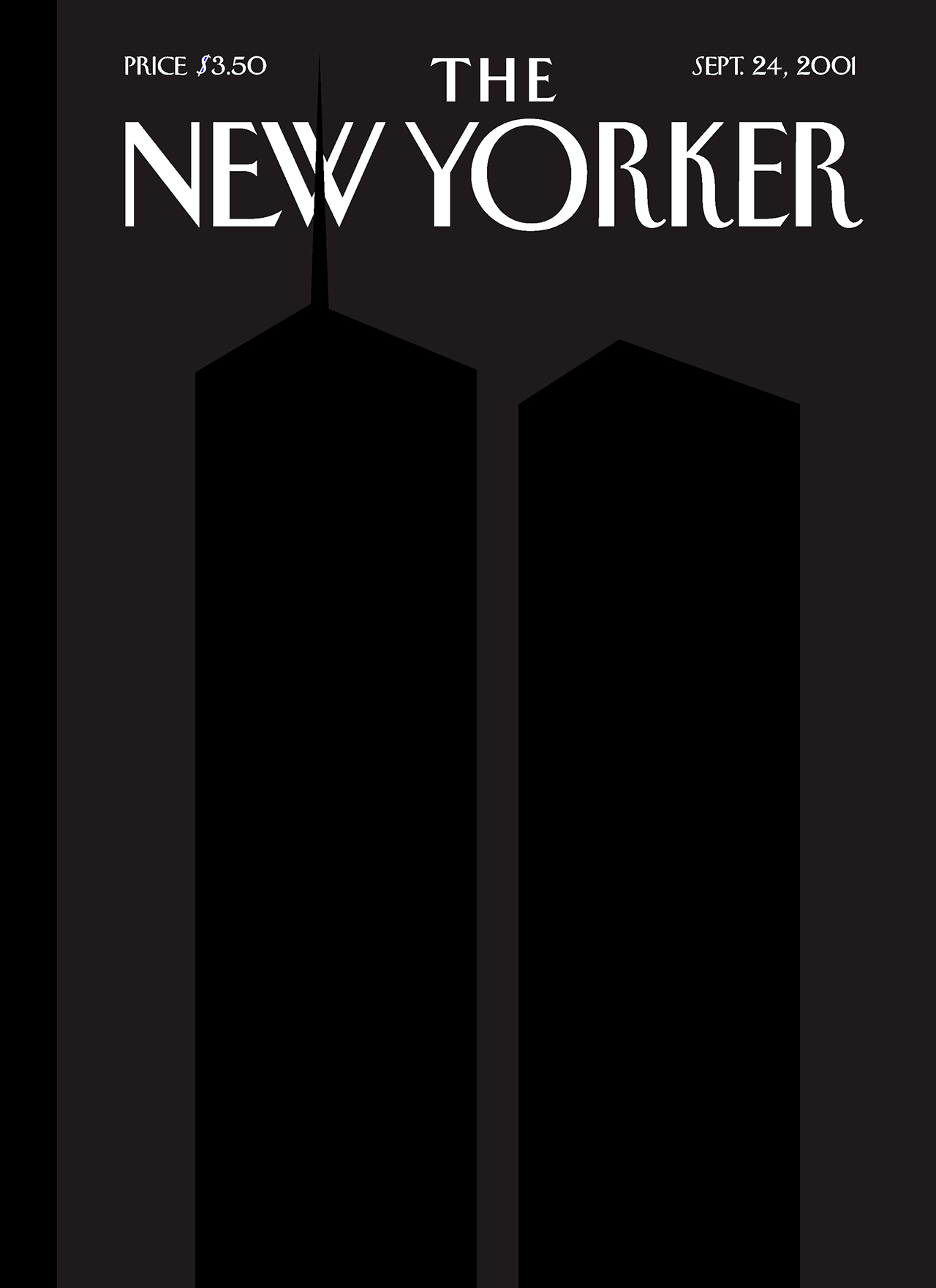 An illustrated cover of the New Yorker magazine released shortly after 9/11 depicts a silhouetted Twin Towers on a dark gray background.