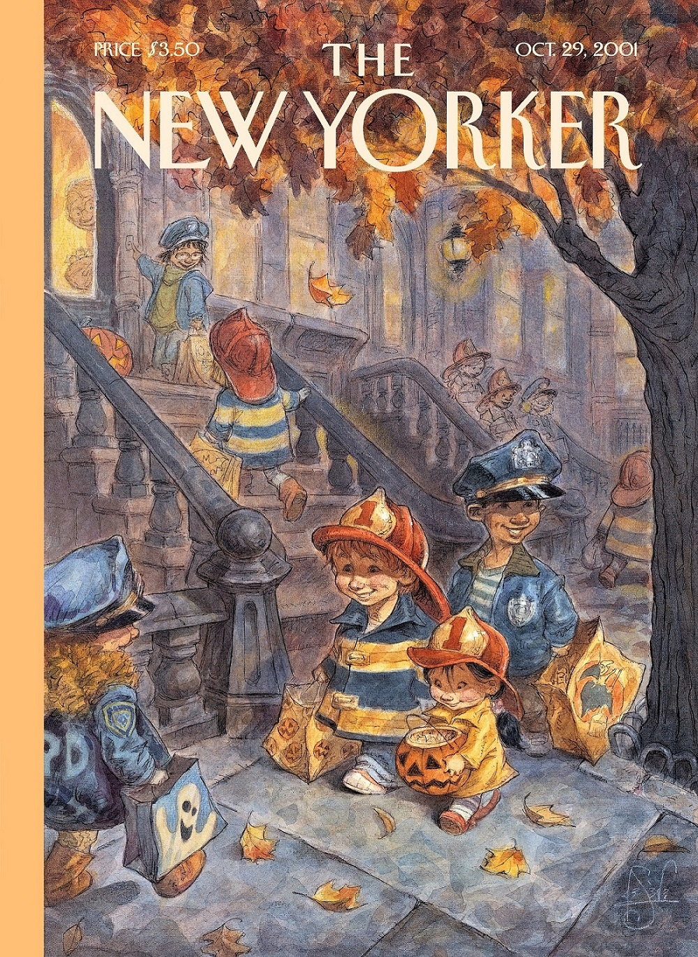 An illustrated cover of the New Yorker magazine depicts children trick-or-treating at a brownstone on an autumn day. The children are all dressed as firefighters or police officers and are carrying Halloween-themed buckets and bags.
