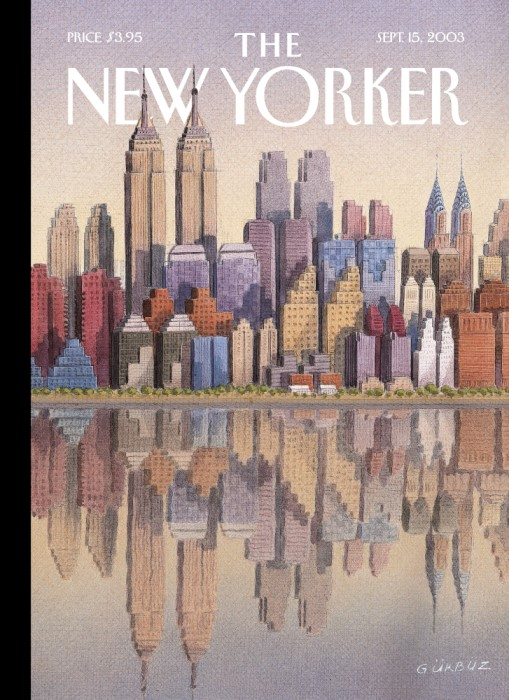 "The illustration ""Twin Towers"" by artist Gürbüz Doğan Ekşioğlu was published on the cover of The New Yorker in 2003 and pays tribute to the Twin Towers by showing an imagined New York City skyline where iconic buildings are appear twice, side by side, in an homage to the Twin Towers, which were destroyed on 9/11."