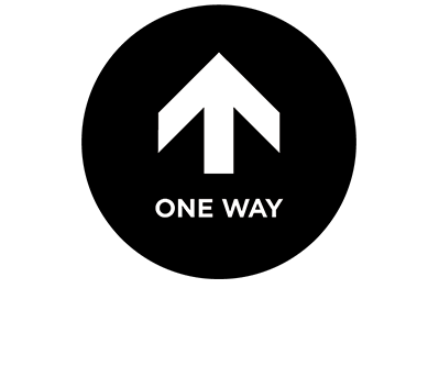 "This black and white graphic depicts an arrow and the words ""one way."""