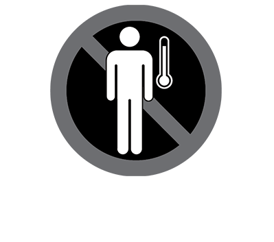 This black and white graphic depicts a man and a thermometer.
