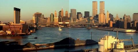 A still image from a time-lapse compilation video by artist Wolfgang Staehle shows the skyline of Manhattan on the morning of September 11, 2001. The Twin Towers stand over lower Manhattan, the East River, and parts of Brooklyn on a sunny morning.