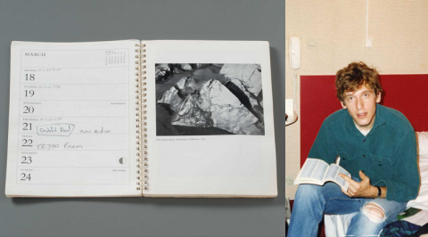 A composite of two photographs. On the left, a photo of a weekly planner on a gray surface. On the verso page are the calendar entries. On the recto page, a photo of a glacier taken by Ansel Adams. The righthand side photograph shows a young man with tousled hair and ripped jeans with a book in his lap on a red couch.