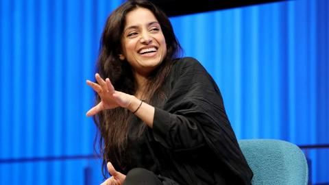 Emmy Award–winning documentarian Deeyah Khan gestures onstage as she takes part in the public program, Confronting Hate.