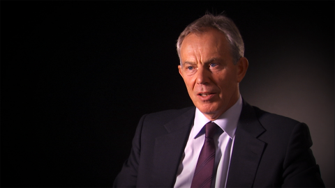 "In this still image taken from the short documentary film ""Facing Crisis: A Changed World,"" former British Prime Minister Tony Blair is shown speaking to the camera."