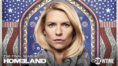 "A promotional image from the TV show ""Homeland."" The actress Claire Danes appears in the center with a steely expression before a mosaic reminiscent of an American flag."