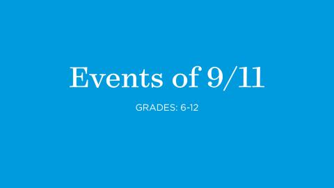 A blue graphic card reads Repercussions of 9/11, Grades 6 to 12.
